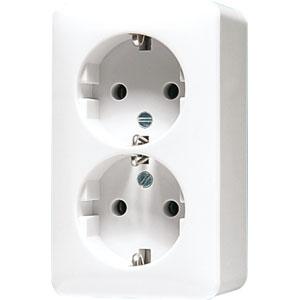 Afbeelding van 2 voudige wandcontactdoos met beschermingscontact 16A 250V - opbouw zuiver wit (6020AWW)