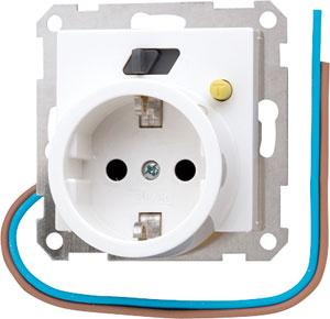 Afbeelding van aardlekveilige wandcontactdoos met beschermingscontact - AS500 Alpin wit (AS520.30WW)